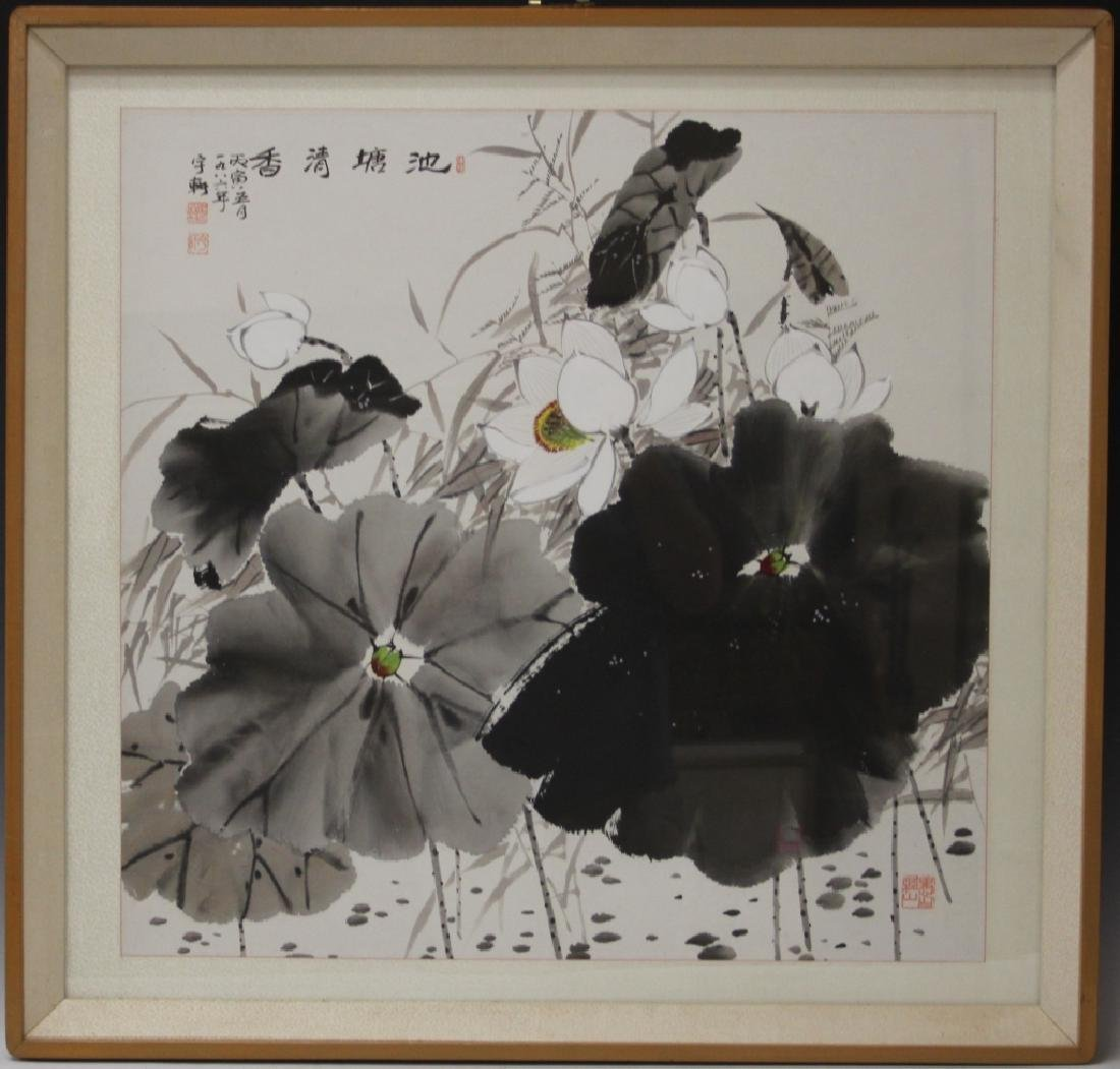 CHINESE WATERCOLOR PAINTING OF FLOWERS, FRAMED