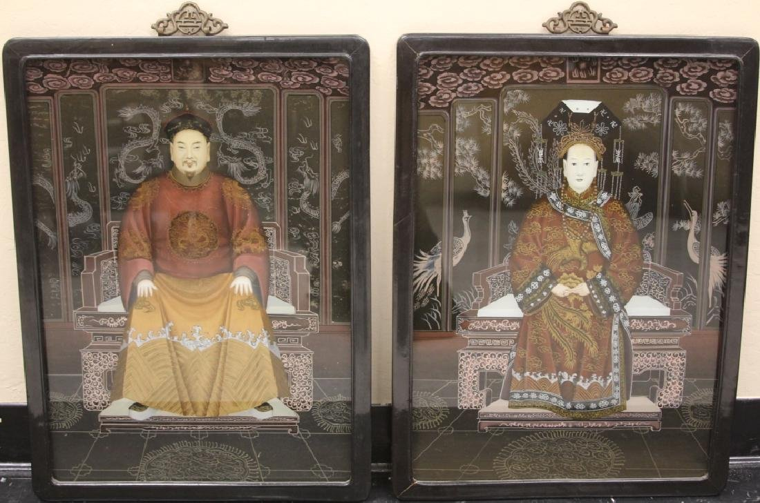 PAIR OF CHINESE REVERSE GLASS PAINTINGS, FRAMED