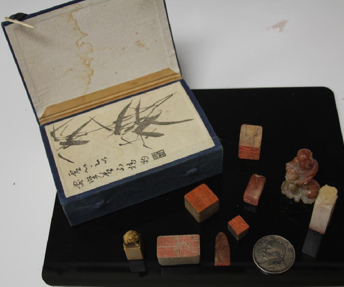 LOT OF (11) CHINESE SEALS, FIGURES, COIN, & BOX