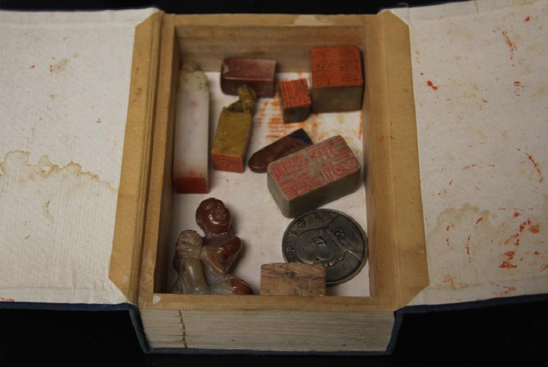 LOT OF (11) CHINESE SEALS, FIGURES, COIN, & BOX - 3