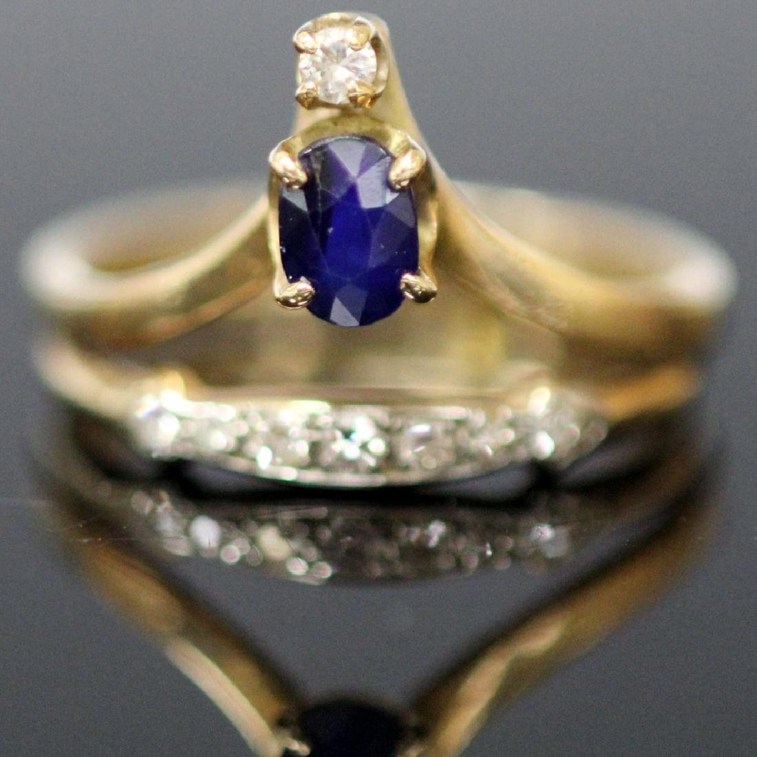 LADY'S SAPPHIRE & DIAMOND 14KT YELLOW GOLD RING