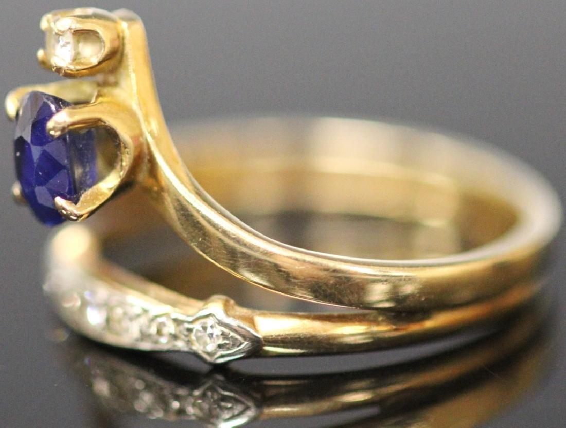 LADY'S SAPPHIRE & DIAMOND 14KT YELLOW GOLD RING - 4