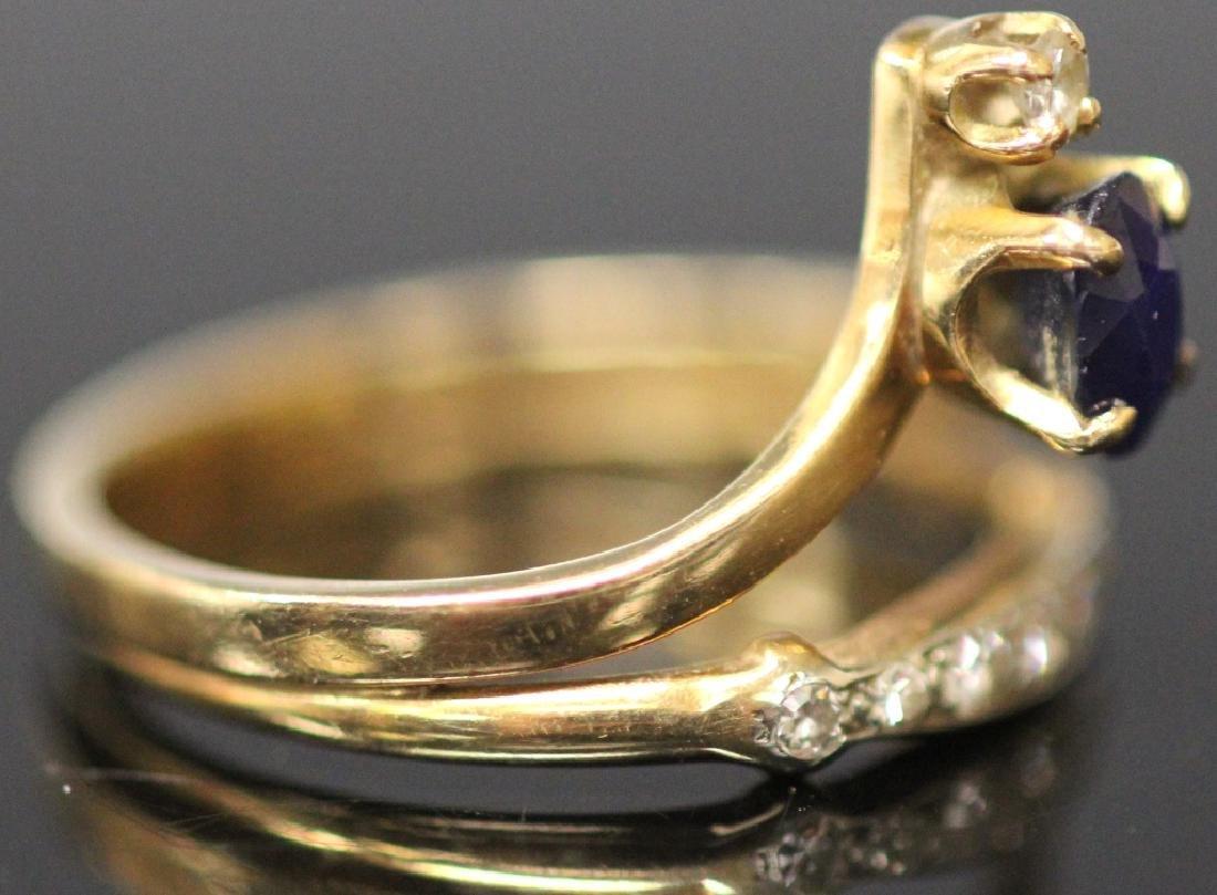 LADY'S SAPPHIRE & DIAMOND 14KT YELLOW GOLD RING - 5