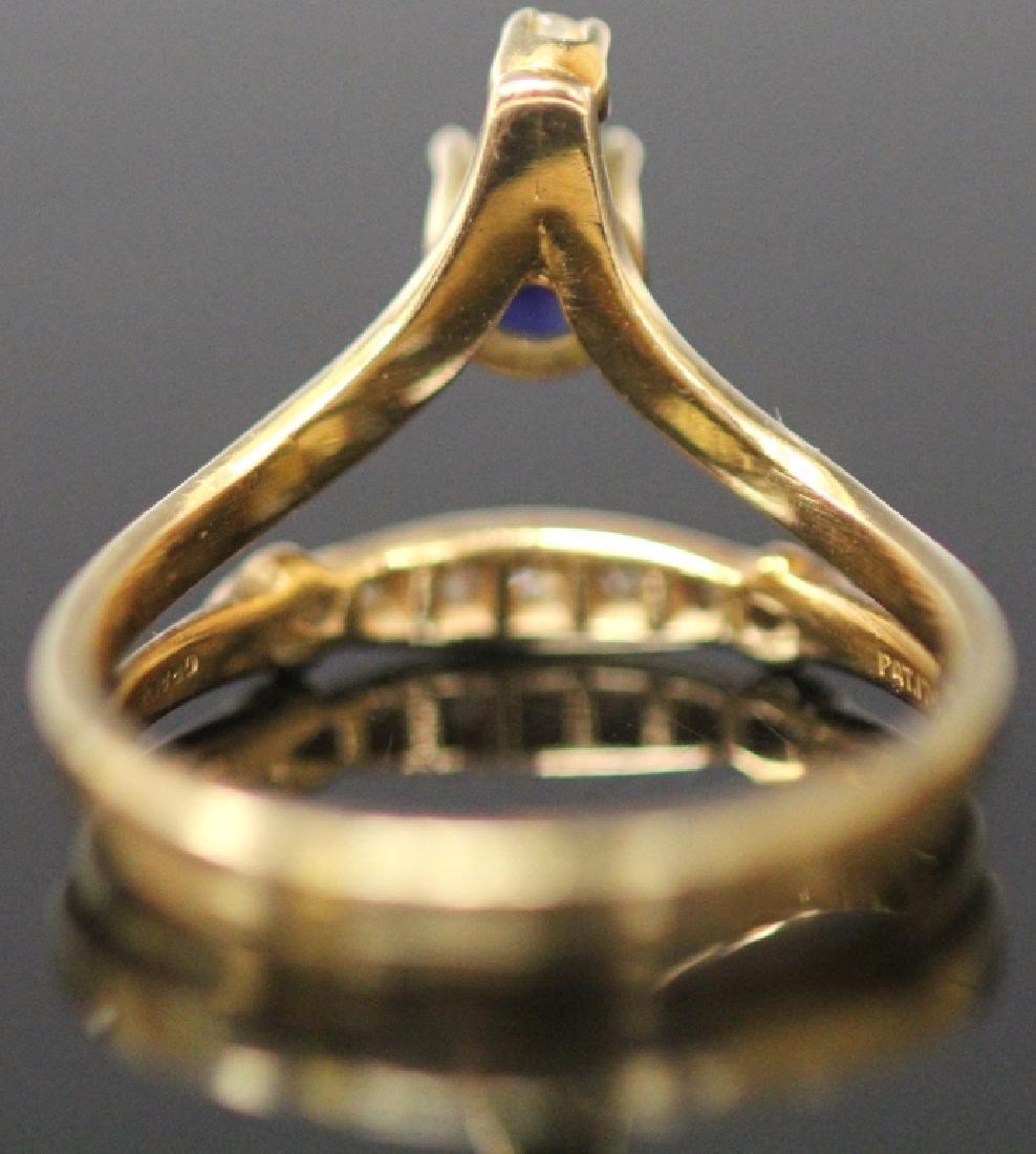 LADY'S SAPPHIRE & DIAMOND 14KT YELLOW GOLD RING - 6