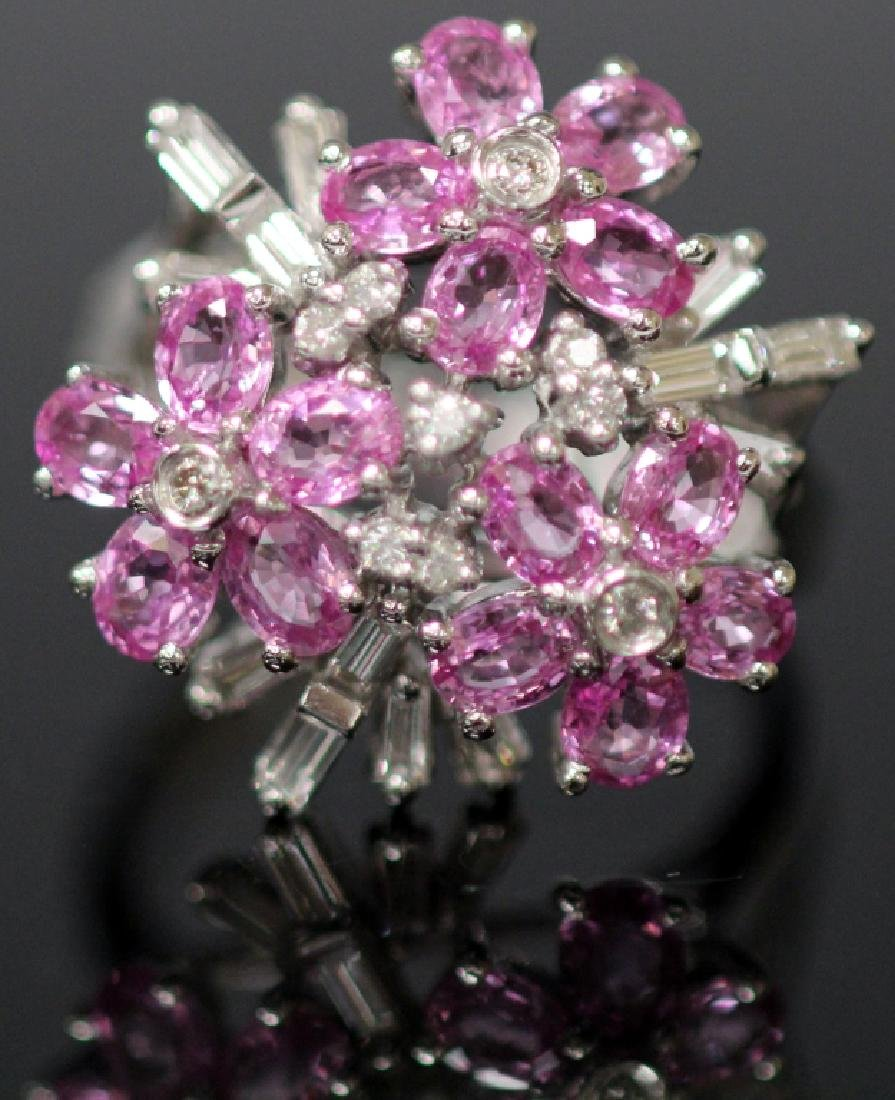 DIAMOND & PINK SAPPHIRE FLOWER 14KT GOLD RING