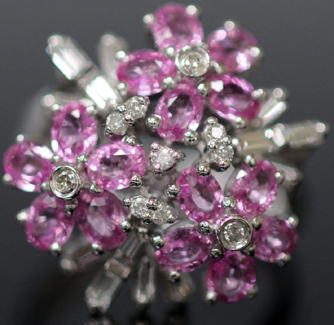 DIAMOND & PINK SAPPHIRE FLOWER 14KT GOLD RING - 2
