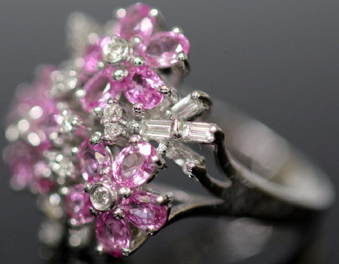 DIAMOND & PINK SAPPHIRE FLOWER 14KT GOLD RING - 3