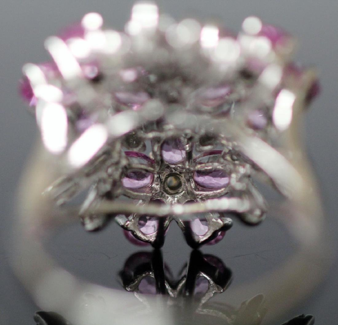 DIAMOND & PINK SAPPHIRE FLOWER 14KT GOLD RING - 9