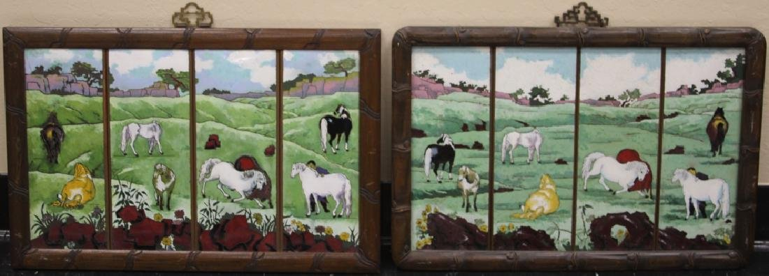 LOT OF (2) CHINESE ENAMELED FRAMED PLAQUES