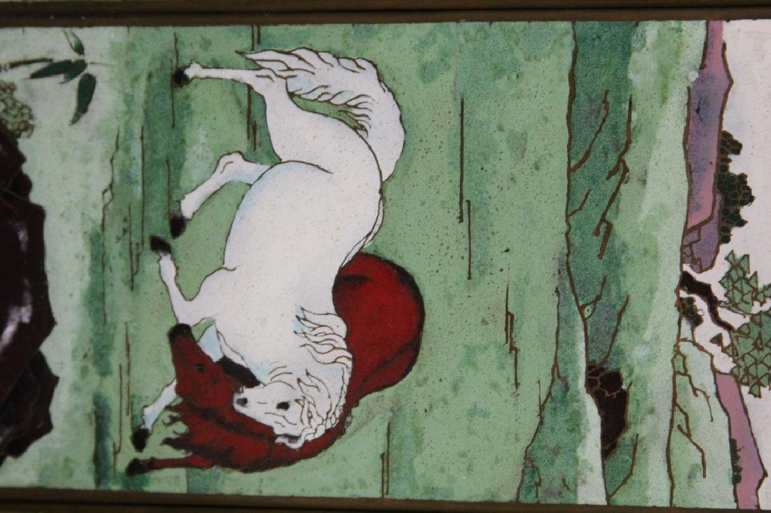 LOT OF (2) CHINESE ENAMELED FRAMED PLAQUES - 4