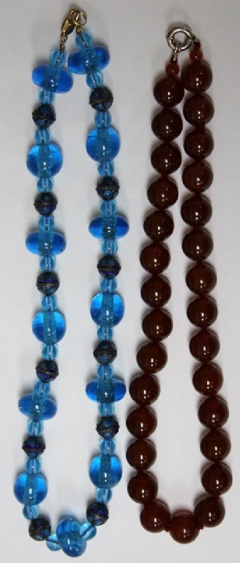 LOT OF (2) CHINESE BEADED NECKLACES, CARNELIAN