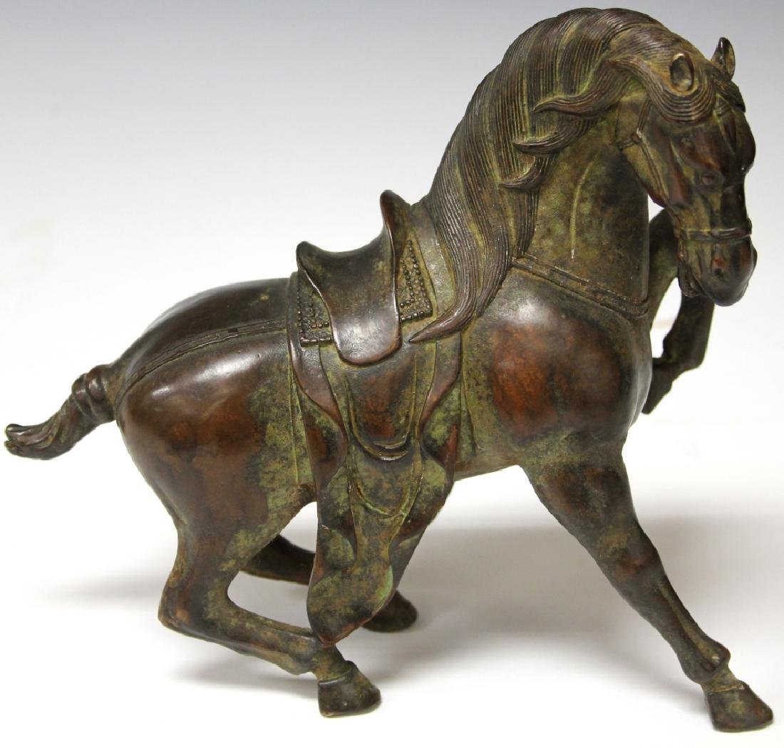 """CHINESE CAST METAL STATUE OF HORSE, 8 1/2"""" H"""