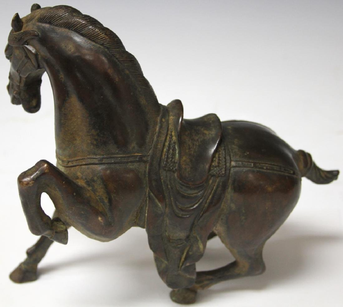 "CHINESE CAST METAL STATUE OF HORSE, 8 1/2"" H - 3"