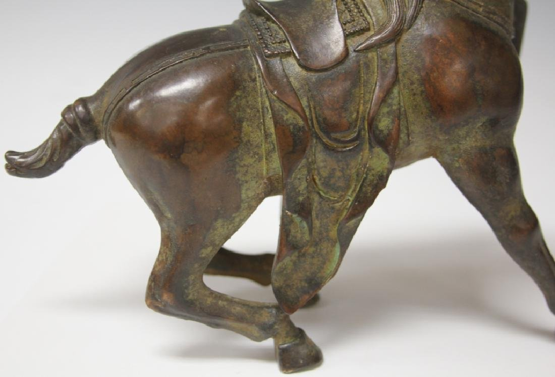 """CHINESE CAST METAL STATUE OF HORSE, 8 1/2"""" H - 5"""
