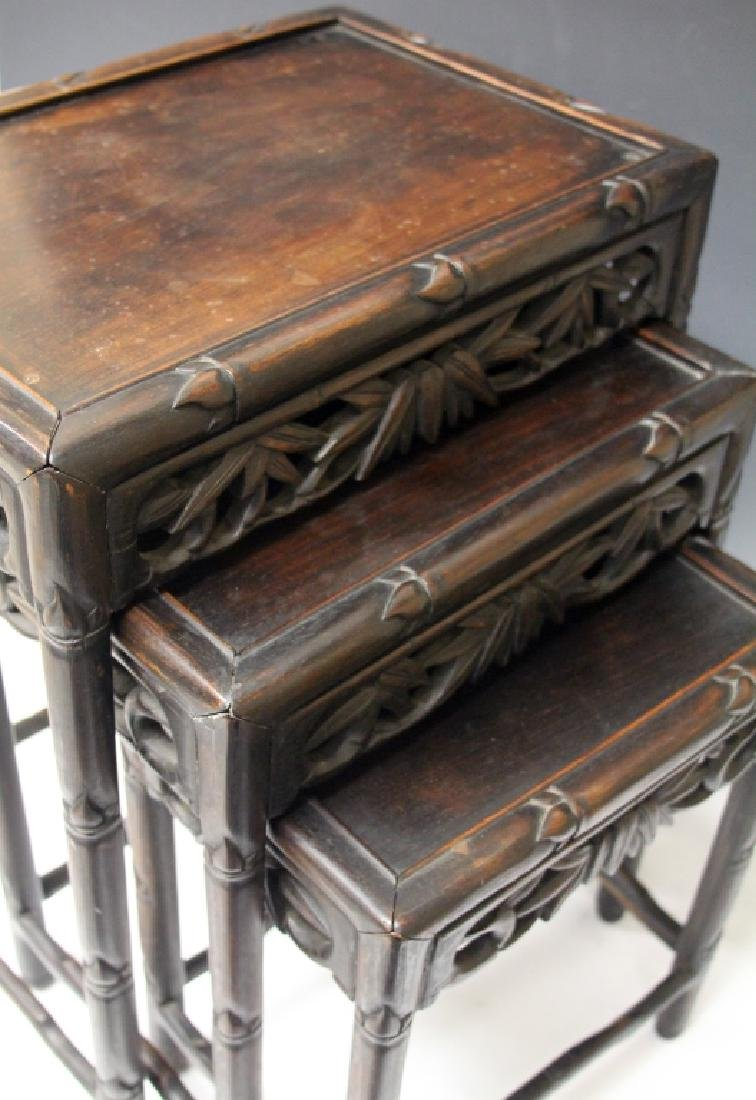 SET OF (3) CHINESE CARVED TEAK STACKING TABLES - 2