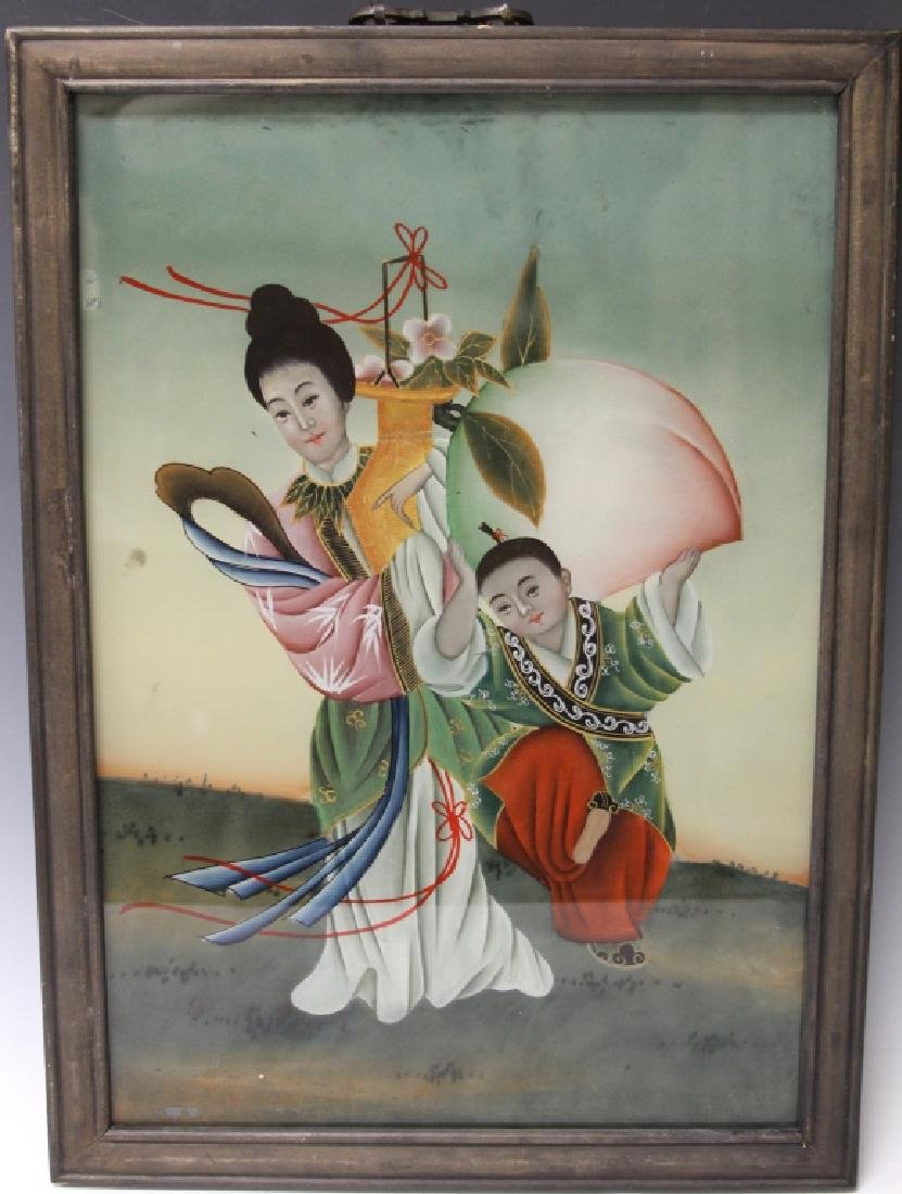 CHINESE REVERSE PAINTING ON GLASS, 19TH C.