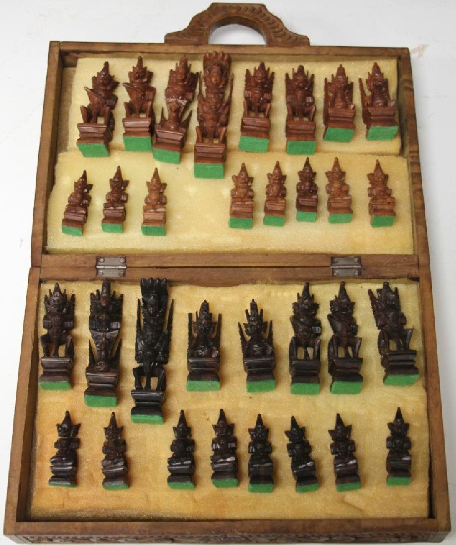 MID-CENTURY THAI CARVED CHESS SET W/ BOARD CASE