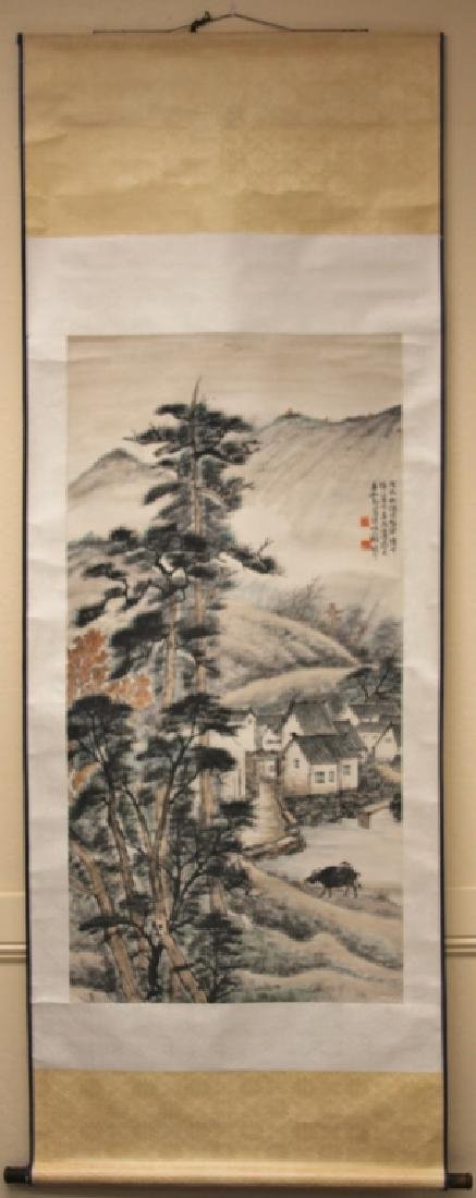 VINTAGE CHINESE SCROLL PAINTING W/ STAMP MARK