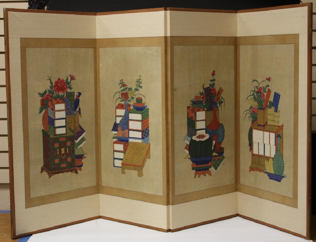 VINTAGE KOREAN PAINTED FOUR PANEL SCREEN