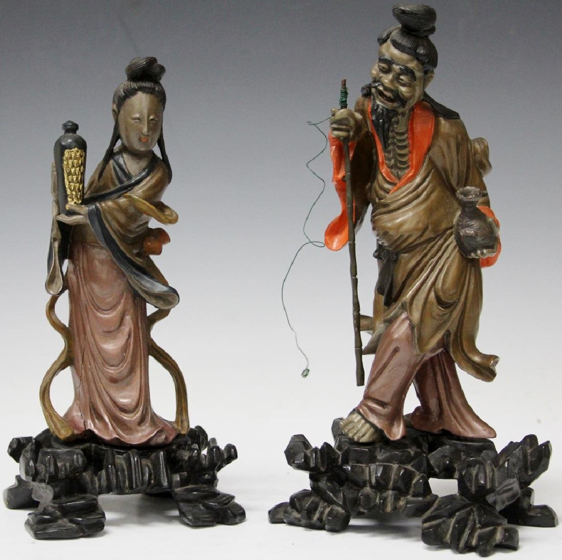 PAIR OF  EARLY POLYCHROME PAINTED FIGURES