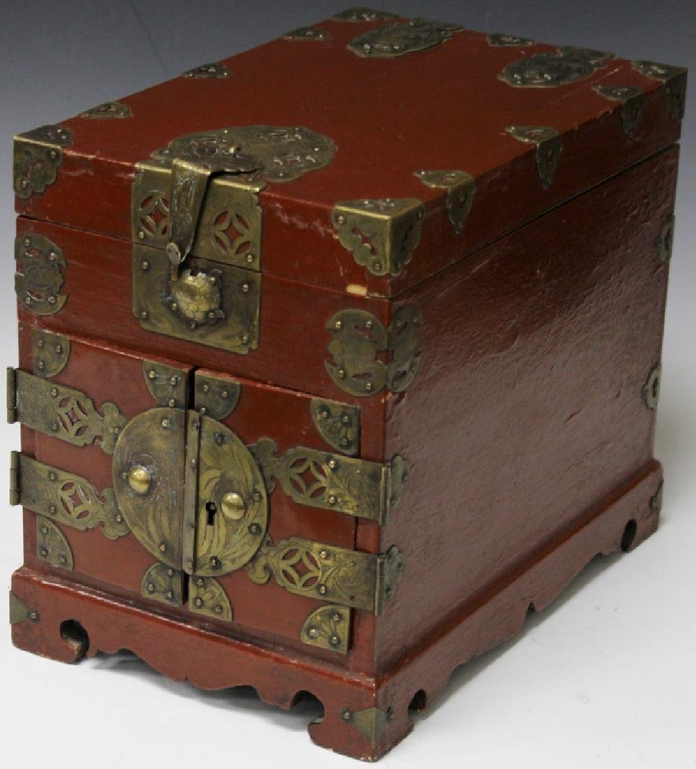 19TH C. KOREAN COSMETICS CHEST W/ ACCESSORIES