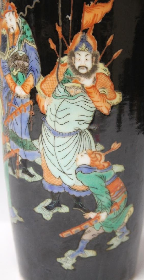 "CHINESE PORCELAIN VASE W/ PAINTED SCENE, 11 3/4"" H - 4"