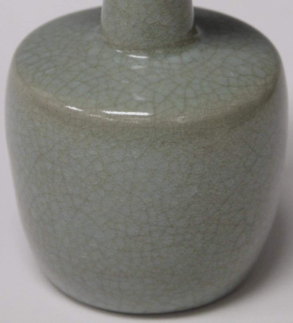 "CHINESE CELADON POTTERY VASE, 7"" H - 3"