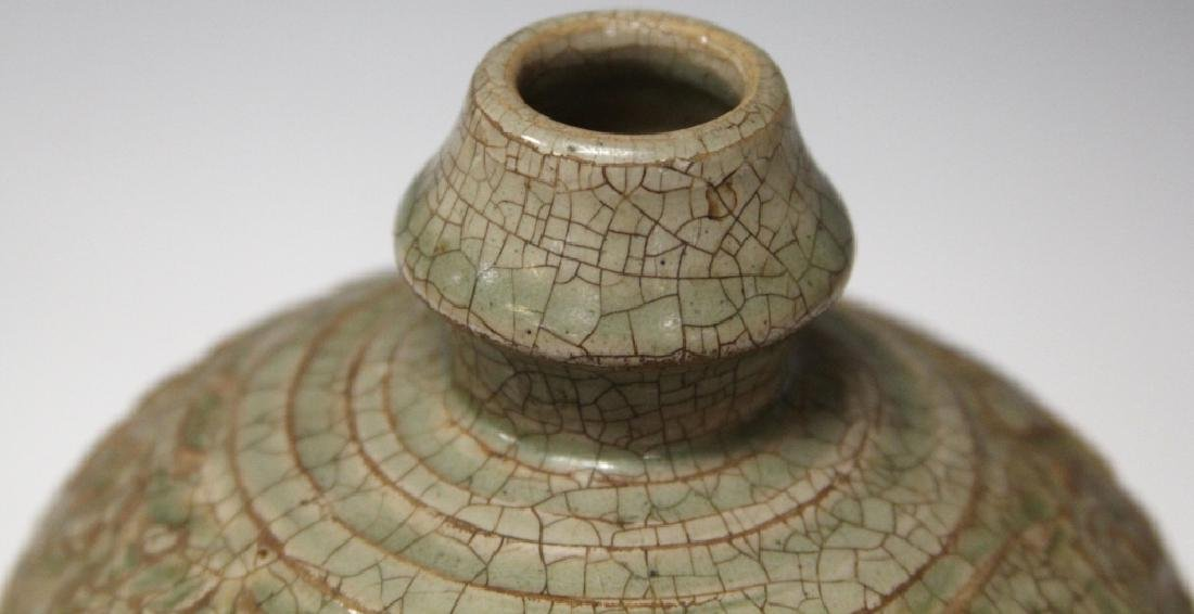 """CHINESE CARVED POTTERY CELADON VASE, 10 1/2"""" H - 2"""