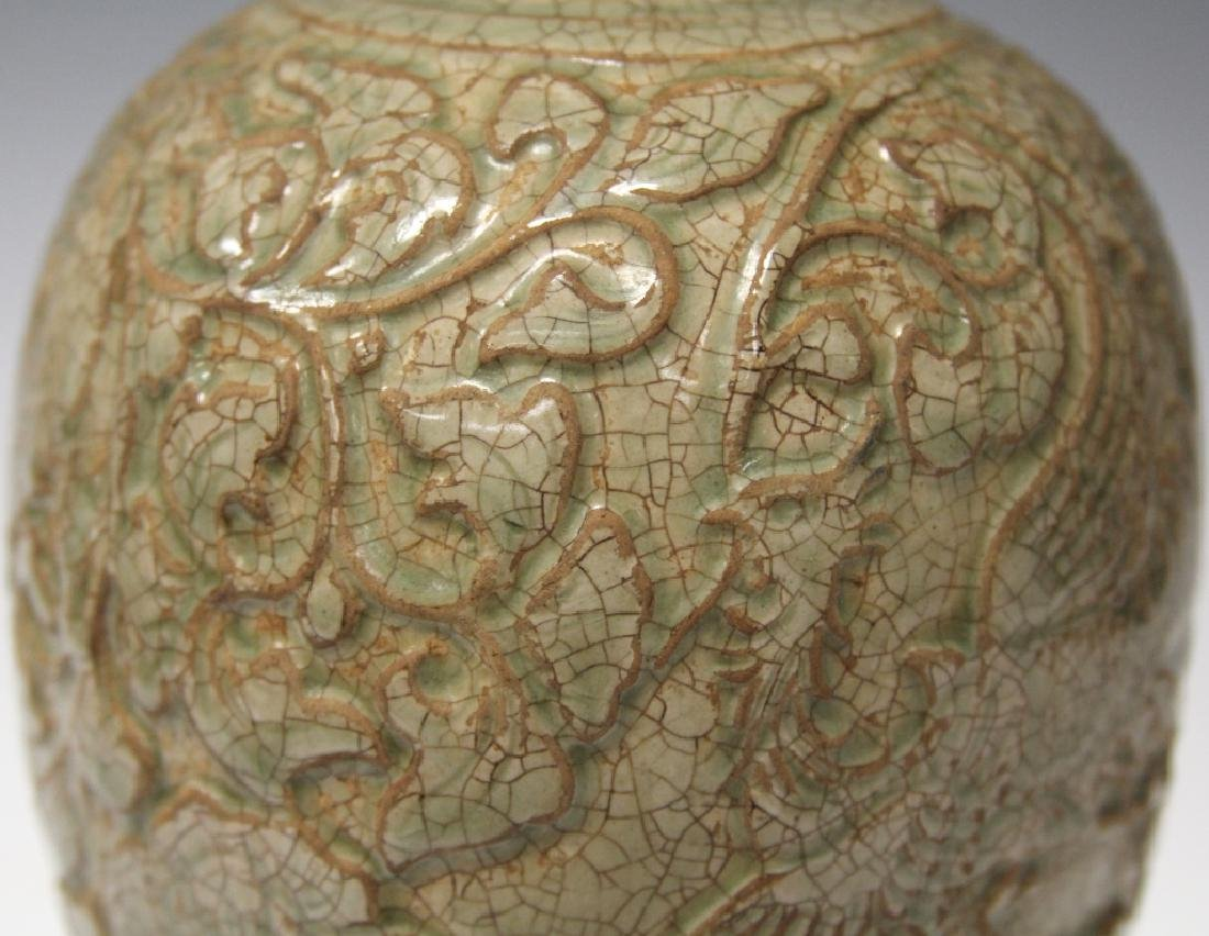 """CHINESE CARVED POTTERY CELADON VASE, 10 1/2"""" H - 3"""