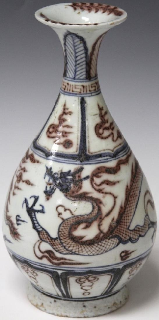 """CHINESE PAINTED POTTERY VASE WITH DRAGONS, 10"""" H"""