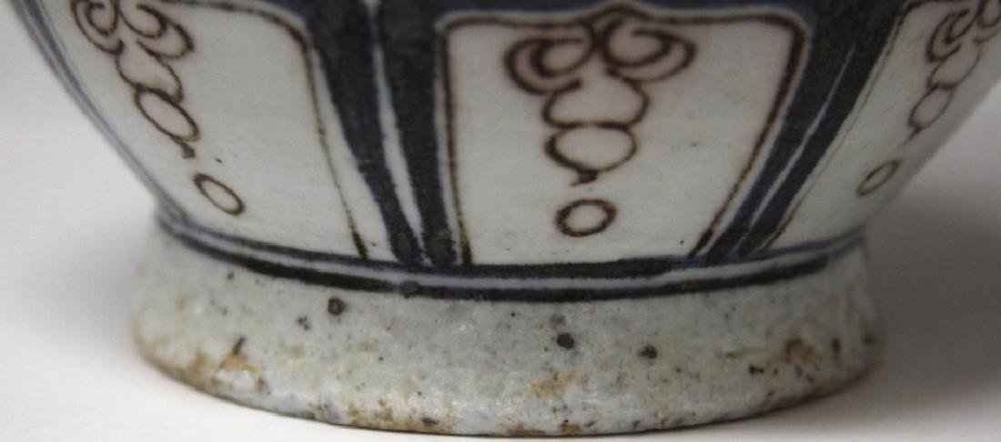 """CHINESE PAINTED POTTERY VASE WITH DRAGONS, 10"""" H - 4"""