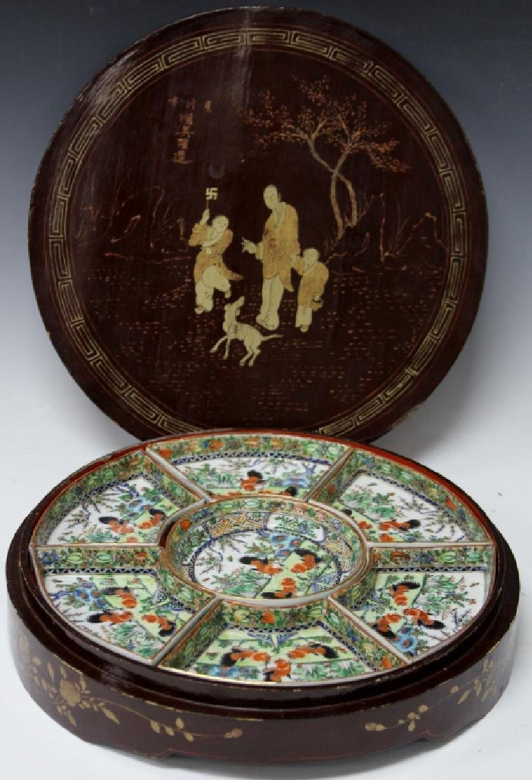 CHINESE PORCELAIN SWEET MEAT DISHES WITH BOX