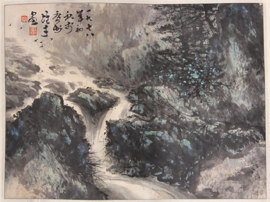 VINTAGE CHINESE WATERCOLOR PAINTING OF LANDSCAPE