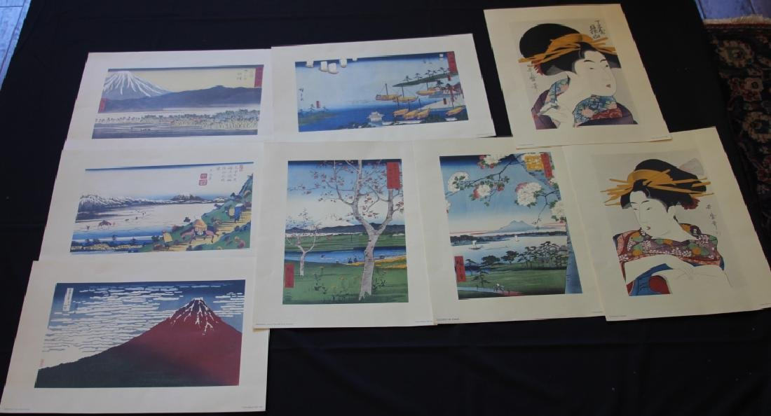 LOT OF (8) JAPANESE WOODBLOCK PRINT REPRODUCTIONS