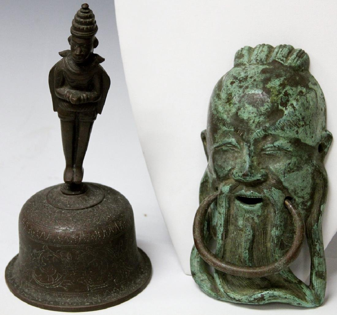 LOT: CHINESE CAST METAL DOOR KNOCKER & THAI BELL
