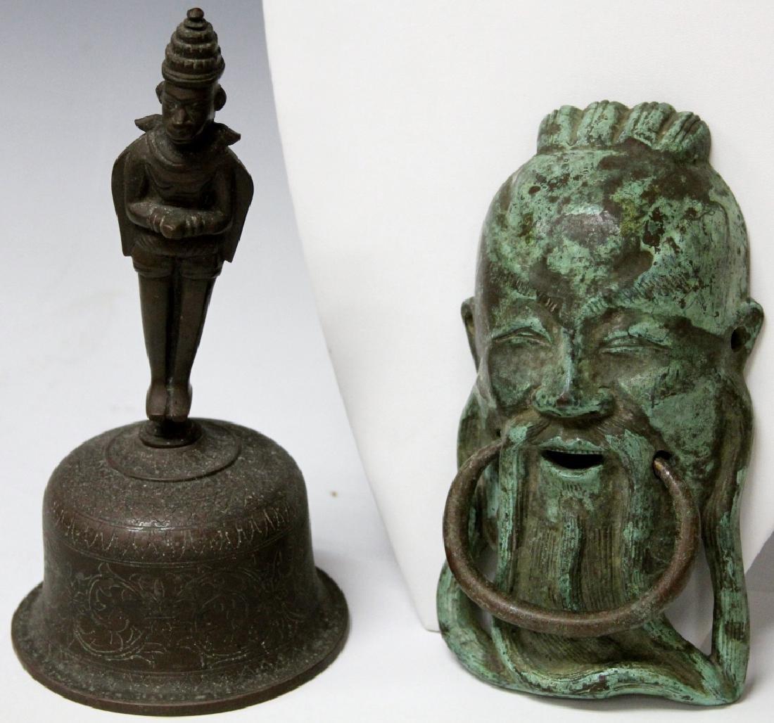 LOT: CHINESE CAST METAL DOOR KNOCKER & THAI BELL
