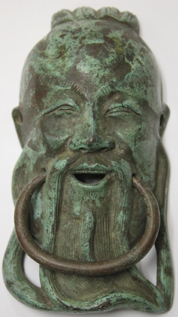 LOT: CHINESE CAST METAL DOOR KNOCKER & THAI BELL - 2