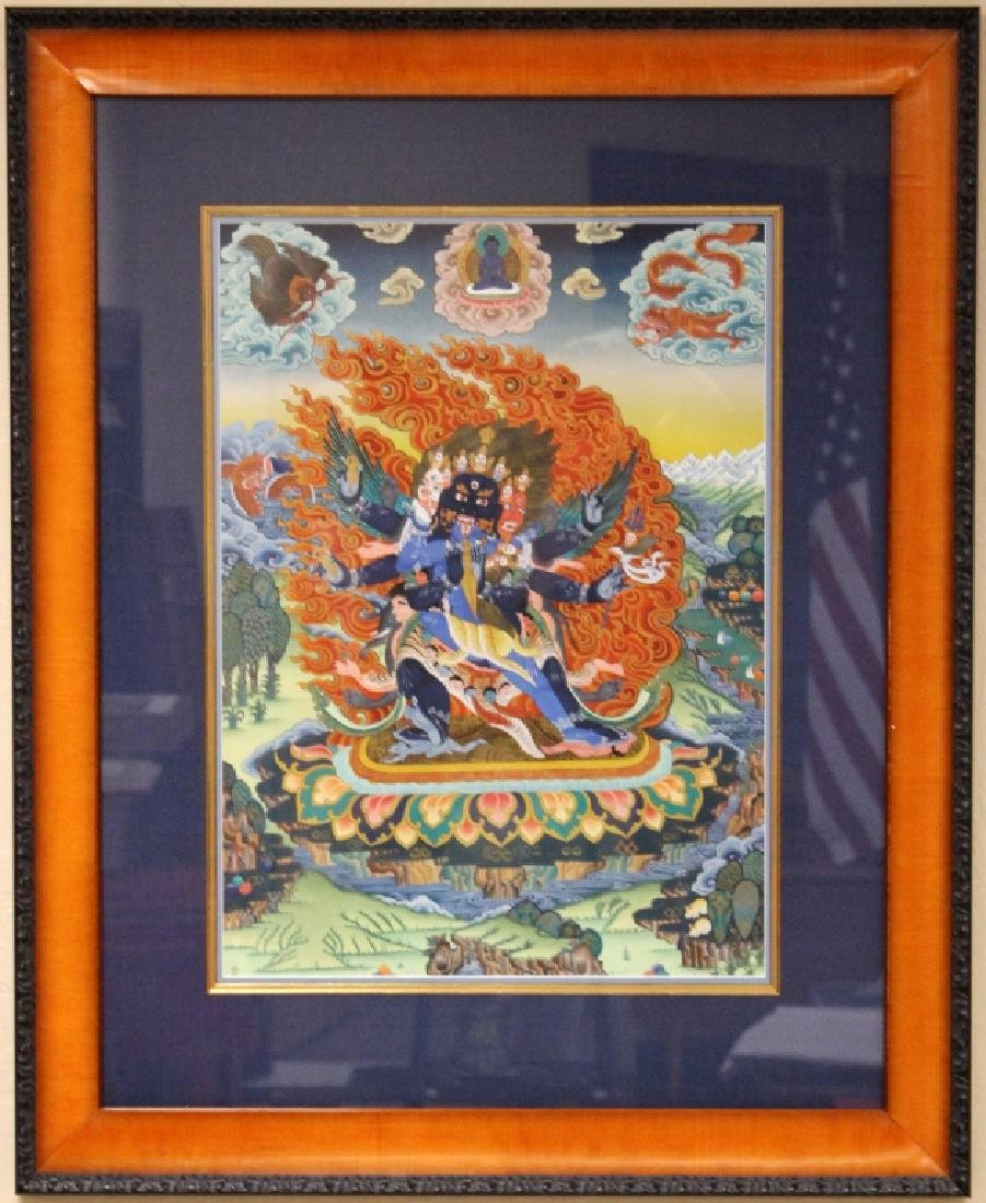 TIBETAN BUDDHIST TANKA PAINTING, FRAMED