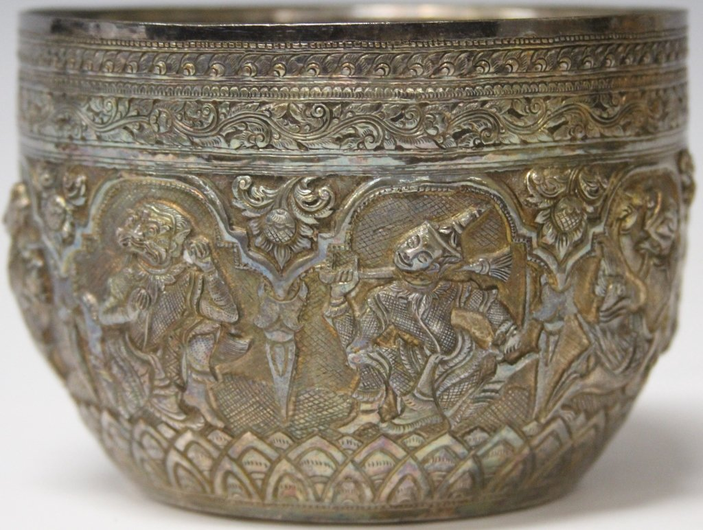 19TH C. EARLY SOUTHEAST ASIAN SILVER BOWL