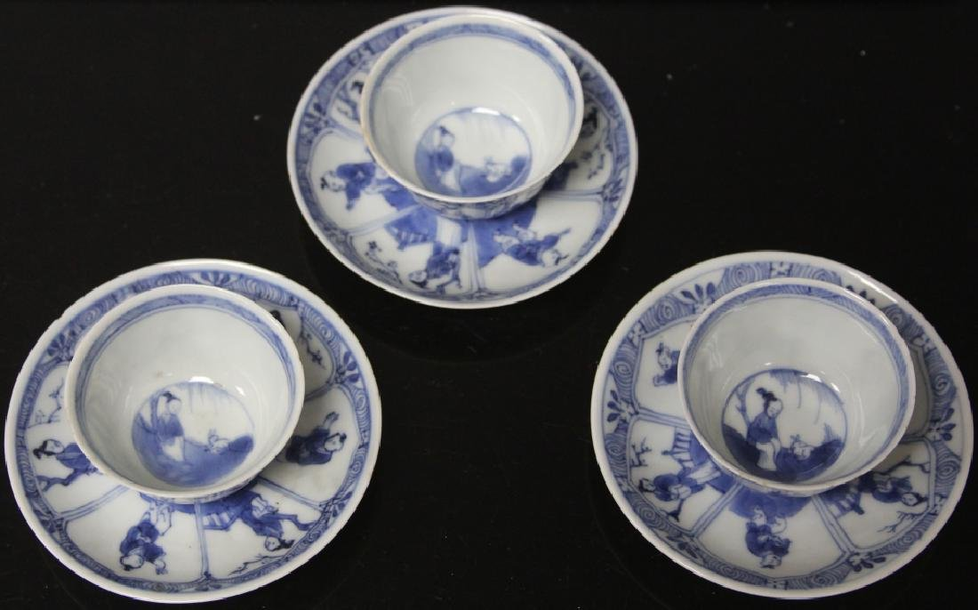 SET OF (6) CHINESE PORCELAIN CUPS & SAUCERS