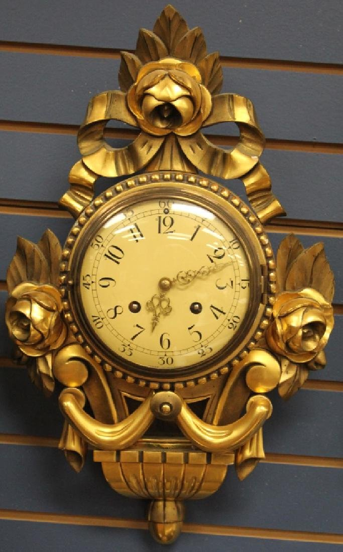SWEDISH GILT GESSO CARVED WALL CLOCK