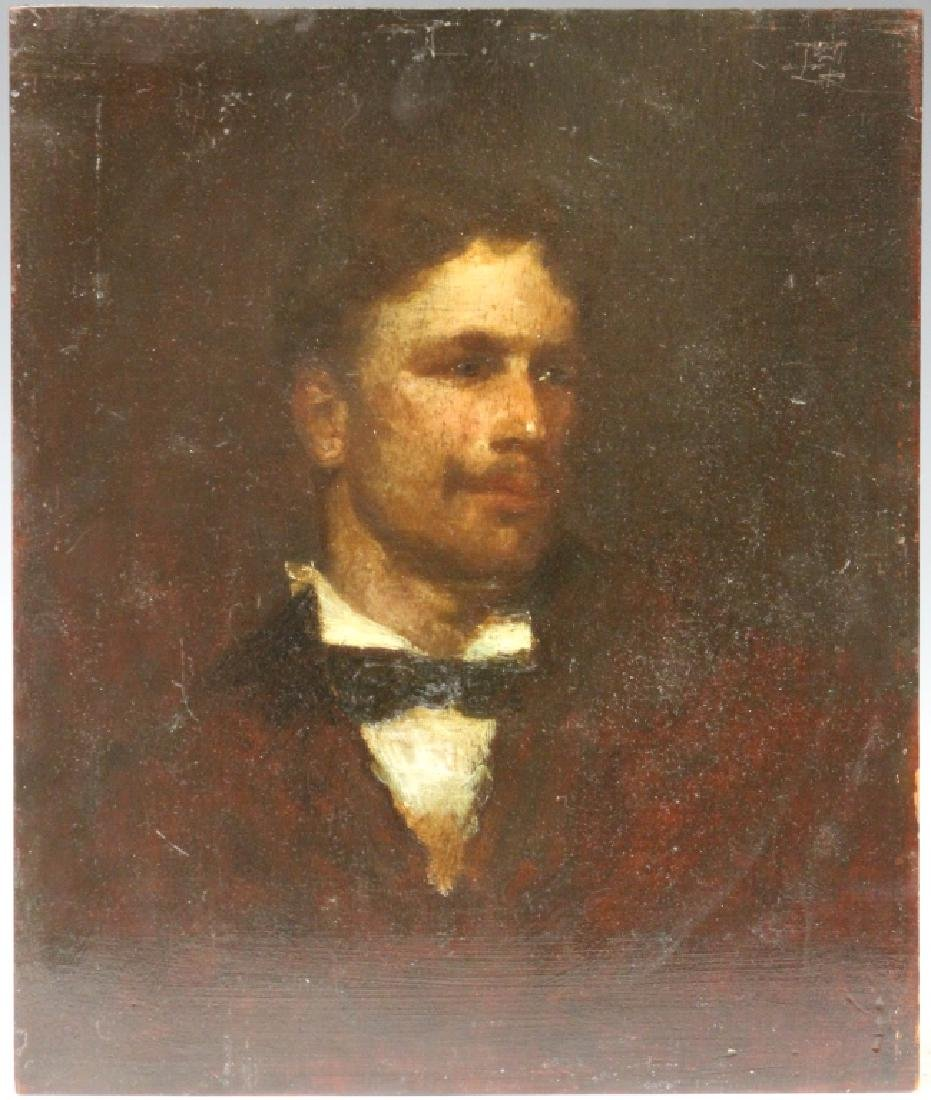 19TH C. IMPRESSIONIST PORTRAIT, OIL ON BOARD