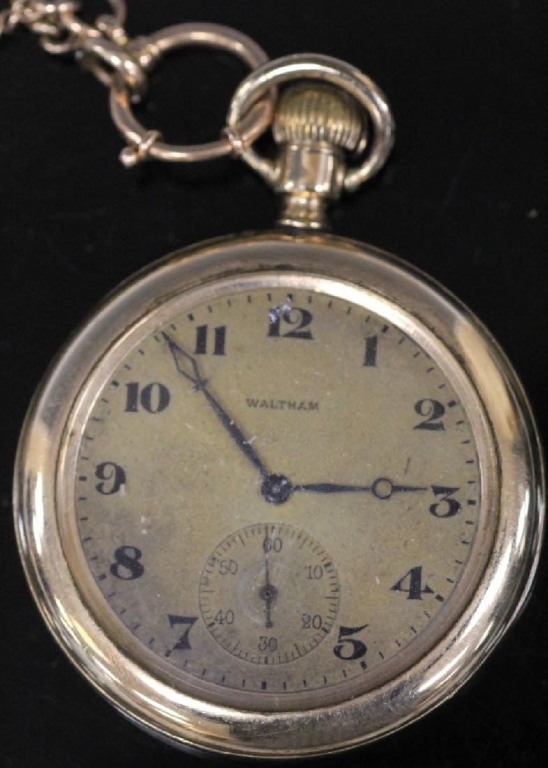 WALTHAM GOLD PLATED POCKET WATCH W/ 14KT CHAIN