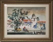 DONG KINGMAN (1911-2000), FRAMED WATERCOLOR