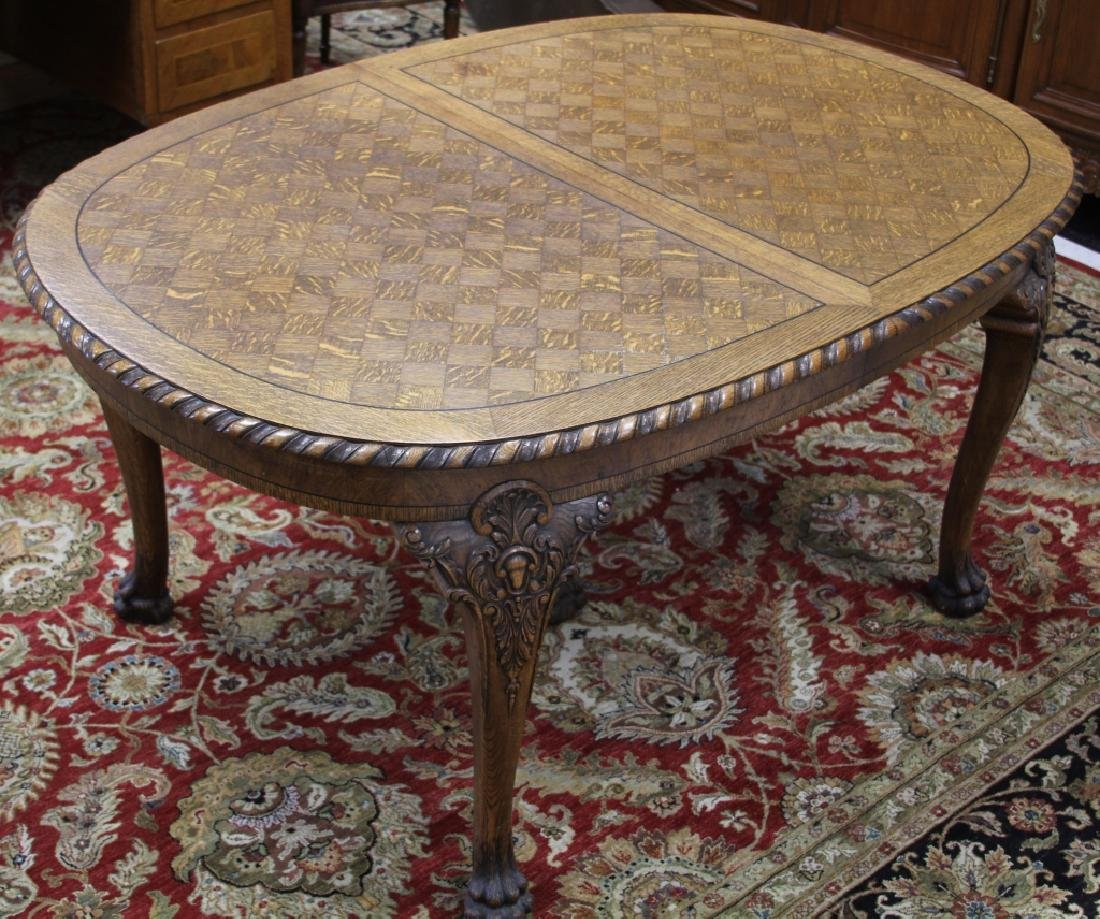 FRENCH OAK MARQUETRY OVAL DINING TABLE W/6 CHAIRS