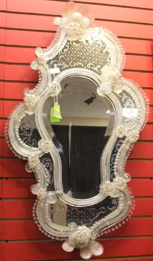 VINTAGE VENETIAN ETECHED GLASS WALL MIRROR