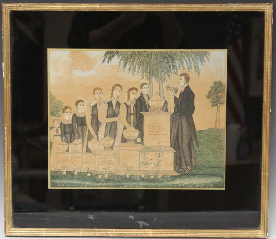 EARLY 19TH C. FRAMED WATERCOLOR & INK PAINTING