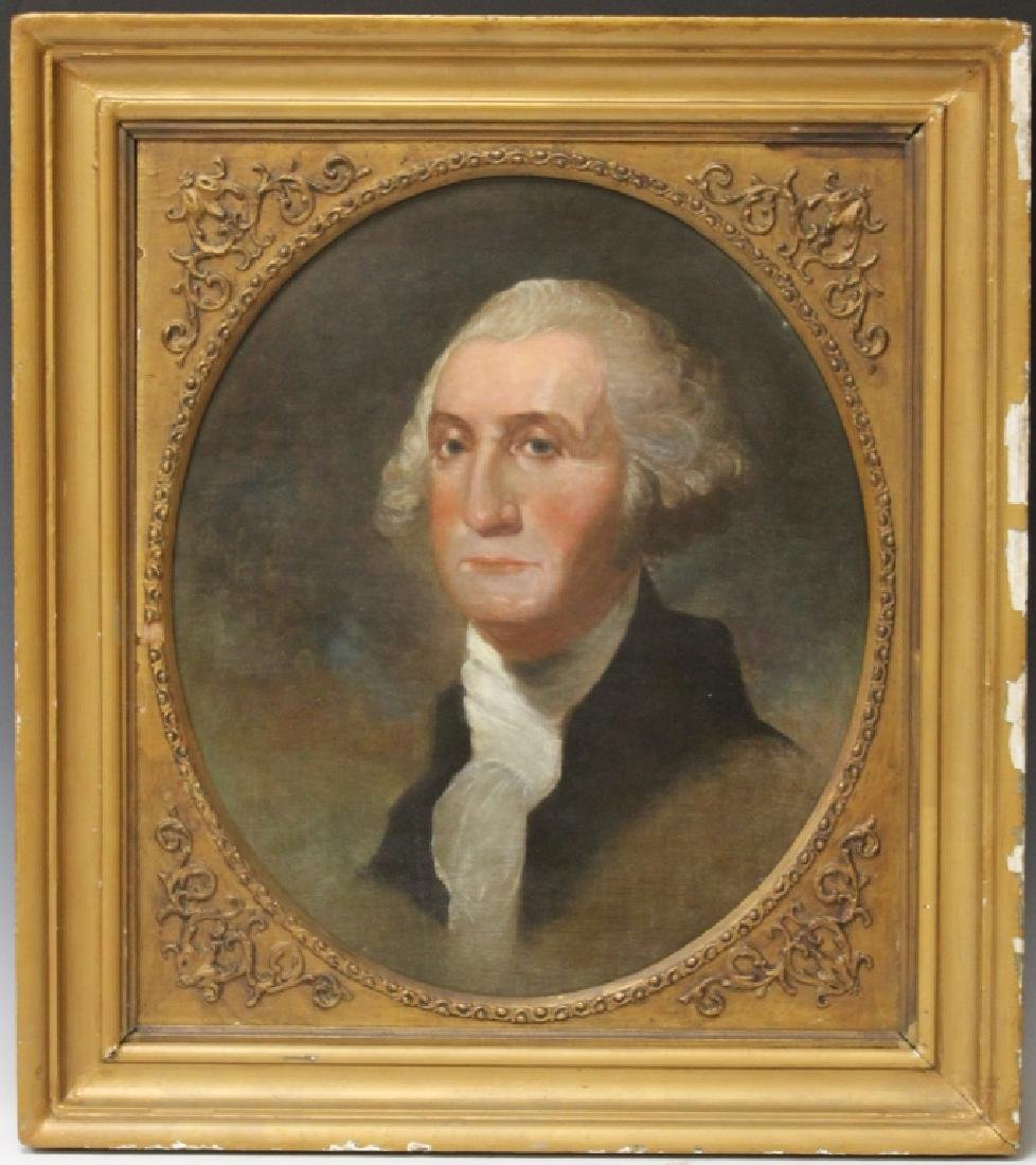 19TH C. PORTRAIT OF GEORGE WASHINGTON, O/C
