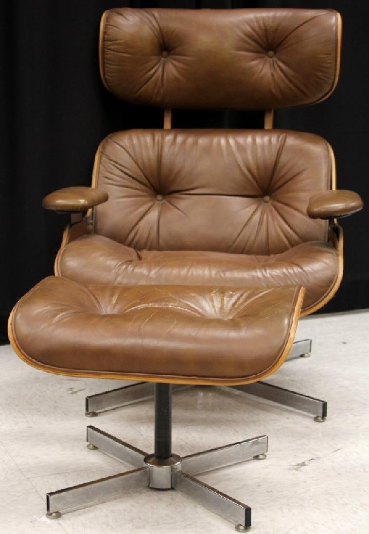 EAMES STYLE LEATHER CHAIR WITH OTTOMAN