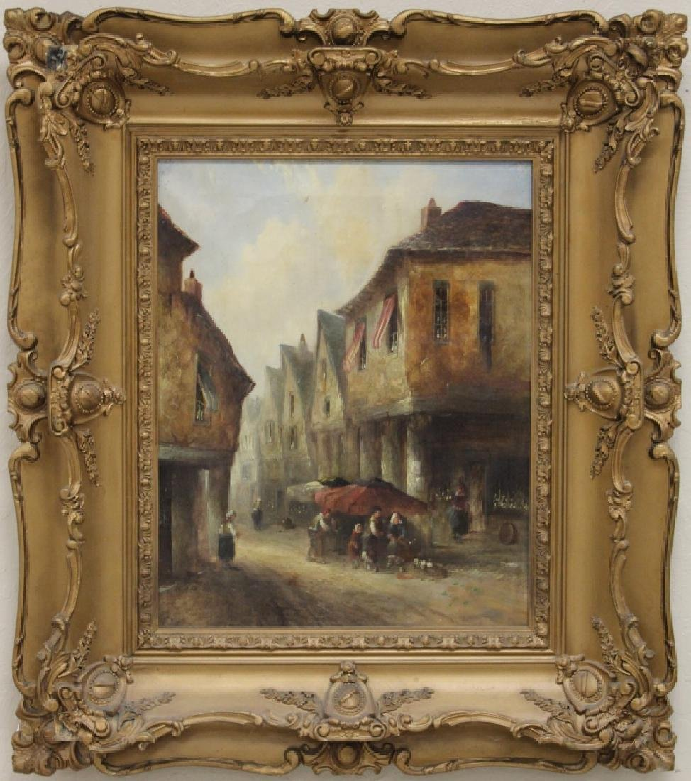 FRAMED 19TH C. OIL ON CANVAS, STREET SCENE